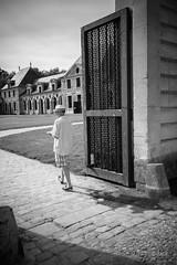 en passant par Vaux le Vicomte (Jack_from_Paris) Tags: l2011161bw leica m type 240 10770 leicasummicronm35mmf2asph 11879 dng mode lightroom capture nx2 rangefinder télémétrique bw noiretblanc monochrom wide angle vaux le vicomte france fouquet maincy parc jardin tête regard promenade pavés chemin allée passant chapeau monsieur hulot