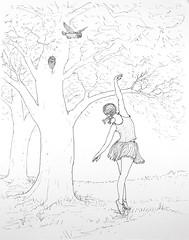 ForestDancers (Alex Hiam) Tags: ballet dance dancer forest woods trees nature owl meadow pen ink illustration sketch drawing landscape
