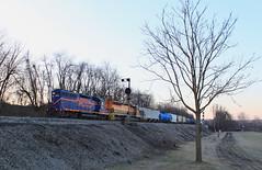 Crispy morning in New Castle (GLC 392) Tags: btnc buffalo pittsburgh pa pennsylvania new castle color postion light cpl signal dawn frost crispy emd sd45 gp40 458 bprr 302 allegheny railroad railway train tree aly sd452