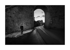 Viaduct (Jan Dobrovsky) Tags: blackandwhite night leicaq figurekrásnálípa road monochrome counrtylife dark rural reallife mood countryside atmosphere village light document