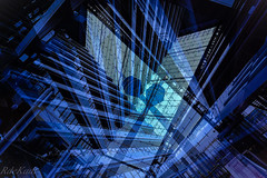 How Many Towers Can You See? (Raphael de Kadt) Tags: doubleeposure germany dusseldorf abstract geometry puzzle interior tower towers blue