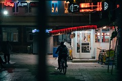 Home Again (Tom Levold (www.levold.de/photosphere)) Tags: fuji fujixpro2 isfahan street xf56mm nacht night esfahan bicycle hinterhof guard fahrrad backyard wache