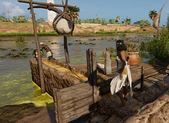 Farm worker filling irrigation canals with a shadoof in Ubisoft's Assassin's Creed Origins Discovery Tour (mharrsch) Tags: egypt ancient prolemaicperiod village farmer shadoof irrigation farming cleopatra assassinscreedorigins discoverytour game videogame ubisoft mharrsch