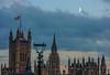 The moon...as a witness... (@petra) Tags: travel london urban housesofparliament nightfall flag england uk moon sky clouds nikon textures