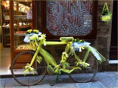 Bici gialla (antonè) Tags: alghero sardegna gialla nastri fiori fiocchi primule vetrina negozio gioielleria festadelladonna 8marzo bicicletta biçikletë ቢስክሌት ibhayisikili велосипед vëlo sykkel bicicleta kerékpár bisikileta polkupyörä paikikala sapedah