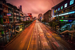 Rush Hour Remnants (Matt Molloy) Tags: mattmolloy timelapse photography timestack photostack movement motion traffic rushhour lights lines trails road lanes ghostly cars motorbikes buildings crane apartments skyscrapers trees powerlines sunset clouds signs busy city bangkok thailand lovelife