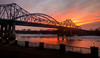 Mississippi River Big Blue Bridge at Sunset in La Crosse WI.jpg (Darren Berg) Tags: lacrosse wisconsin mississippi bridge ice sunset orange flare lamp winter cold