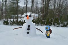 Proud (robjvale) Tags: nikon d3200 adventurerjoe lego snowman snow winter trees carrot eyes buttons build