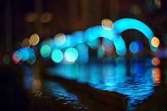 Sonic Runway and bubbles (PeterThoeny) Tags: sanjose california siliconvalley sanfranciscobay sanfranciscobayarea southbay sonicrunway light art lightart sound soundart visualization speedofsound corridor water wet reflection wetreflection night dream dof depthoffield shallowdepthoffield bokeh bubbles sony sonya7 a7 a7ii a7mii alpha7mii ilce7m2 fullframe vintagelens dreamlens canon50mmf095 canon 1xp raw photomatix hdr qualityhdr qualityhdrphotography blur fav200