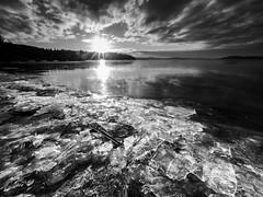 Icy sunset (stbea101) Tags: sweden stockholm sätra sunset lake maälaren blackandwhite