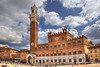 City Hall of Siena (Jan Kranendonk) Tags: siena italy italian europe european city town building architecture historical landmark sunny sky travel houses scenic toscane park tuscany hdr palazzo tower cityhall townhall piazzadelcampo townsquare plaza tourists clouds italia