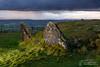 Loughcrew-CairnU-stones-5-3-17 (mythicalireland) Tags: loughcrew cairn u standing stone kerb stones megaliths megalithic neolithic age prehistoric mound earth slieve na calliagh meath ireland shower cloud storm rain rainfall landscape