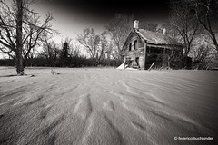 Two-Chimney House [Explored] (/ shadows and light) Tags: oakbank manitoba chimneys abandoned abandonment decay decayed derelict snow winter house bw trixgrain monochrome ruralexploration rurex trees