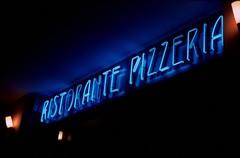 Neon Light Ristorante Pizzeria (fabio.mattutino) Tags: ristorante pizzeria neon lights blue luci restaurant summicron 50 agfa apx 100 bessa r3m