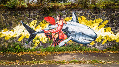 La bailaora y el tiburón (Alexander Dülks) Tags: autumn herbst laub rhinesidegallery flamenco mural krefeld 2017 leaves wandmalerei hai shark rhein tänzerin rhine uerdingen fächer dancer fan germany streetart carlosalbertogh graffito graffiti