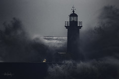The fearless lighthouse keeper (RuiFAFerreira) Tags: shadow waterscape waves bigwaves storm stormy blue creative creativeedit portugal porto lighthouse seascapes landscape