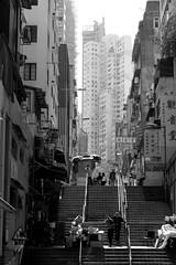 中 上 環 (Wilson Au | 一期一会) Tags: centraldistrict westerndistrict hongkong blackandwhite olddistrict monochrome fujifilm fujifilmxe2 fujinonlensxf1855mmf284rlmois street stairs buildings