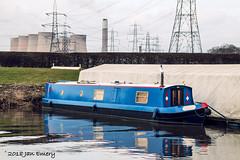 Blue Narrow Boat (Jamarem) Tags: blue narrow power station energy pylons river reflection boat bank canoneos70d sigma 18250mm kingstononsoar nottinghamshire ratcliffeonsoar