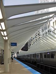 "Chicago, New Washington ""El"" Station, Train Heading South (Mary Warren 10.0+ Million Views) Tags: chicago urban architecture building el rapidtransit station transportation train tracks"