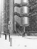 Snow on Lime Street (ho_hokus) Tags: 2018 blackwhite cityoflondon england fujix20 fujifilmx20 limestreet lloyds lloydsoflondon london monochrome uk badweather snow weather