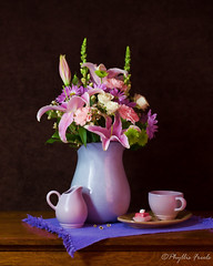 Spring Bouquet (Phyllis Freels) Tags: phyllisfreels topaz arrangement boquet brown canon creamer cup flowers green indoor lilies mums pink purple roses snapdragon spring stilllife tabletop wood