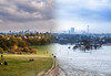 Changing Seasons. (andrewharding127) Tags: london park europe winter autumn blend season green snow wallpaper canon photoshop landscape city primrose camden england cityscape panoramic sky trees cold warm warmth andrehwharding127 path captial