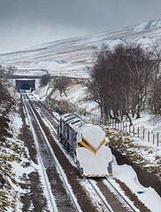 Catch my drift (Robert France) Tags: covered dales diesel direct rail services drift plough drs england europe european freight general motors gm haulage hauling independent snow ploughs loco locomotive locomotives network ploughing railfreight railroad rails railway snowplough railways rural sc settle carlisle snowing train snowploughing trains transport uk united kingdom weather white winter yorkshire 2018 66 66301 66304 bad
