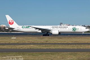 JA734J Japan Airlines Boeing 777-346(ER) Sky Eco 2020 sticker (SYD - YSSY)
