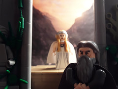 Mithrandir, why the halfling? (JW_Productions) Tags: lotr lord of the rings gandalf hobbit lego galadriel bilbo baggins sunset rivendell jrr tolkien an unexpected journey