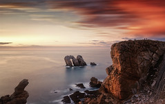 We are nothing (Anto Camacho) Tags: nature longexposure landscape sunset rocks sky clouds light spain spring cantabria urros water
