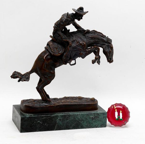 Frederic Remington Recast Bronze Bronco Buster Sculpture ($364.00)