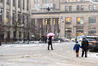 Crossing Court during Winter Storm Quinn in Brooklyn
