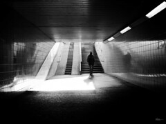 now I'm here (René Mollet) Tags: renémollet street streetphotography shadow silhouette streetart streetphotographiebw station