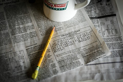 Daily morning puzzle - Anderson S.C. (DT's Photo Site - Anderson S.C.) Tags: canon 6d sigma 50mm14 art lens andersonsc upstate andersonindependent newspaper leisure print coffee cup krispykreme java browsing puzzling solve pastime yellow pencil eraser