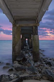 Sunrise below Waimanalo Pier