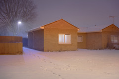 Holed up (Richard:Fraser) Tags: city longexposure night urban wwwrichardfraserphotographycouk low rise 1960s housing residential snow 2018 beastfromtheeast long exposure bricks light small house architecture uk