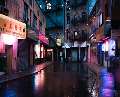 Doyers Street in the Rain (forbidden0907) Tags: night newyorkcity neon neonlights rain aesthetic urban citynights lights reflection bokeh chinatown streetphotography alley street citystreets perspective nightshot nightphotography