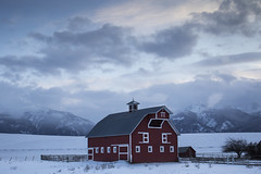 Red barn in the Joseph area, Oregon (icetsarina) Tags: oregon winter snow barn field farm sunset topf100100149faves