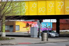 Soaring Under the DNA Bridge (Thom Sheridan) Tags: thomsheridan midtown e55th euclid avenue mural 2018 bridge cleveland ohio street city