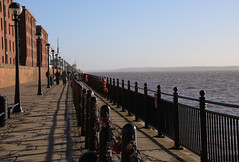 River Mersey and the Liverpool Waterfront (robin denton) Tags: liverpool merseyside waterfront unescoworldheritagesite unesco heritage albertdock fence locks lock cobbles cobblestones cobbled buildings iron ironrailings contrejour path chain riverscape river rivermersey rnbmersey