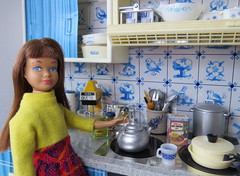 5. Making hot cocoa (Foxy Belle) Tags: doll skipper kitchen warm winner tin blue white delft vintage diorama 16 scale little sister barbie playscale miniautres dollhouse scene stove dog pet hudson bay cook hot chocoalte