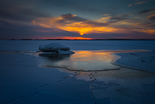 Frozen sea sunset