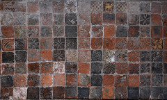 Tong, Shropshire, St. Bartholomew's church, Vernon chapel, medieval tiles (groenling) Tags: tong shropshire salop westmidlands wolverhampton england britain greatbritain gb uk stbartholomewschurch goldenchapel chantry vernon tile ceramic clay