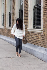 Loft Snowbird Sweater, Grey Jeans, Fur Bag, Nude Pumps Outfit-10.jpg (LyddieGal) Tags: loft naturalizer roundabout denim fashion fur gap grey newhaven outfit rayban style sweater thrifted tjmaxx vintage wardrobe weekendstyle white winter