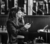 I'm going to sit back, light up, and hope I don't chew the cigarette to pieces. Vin Scully (Lorrainemorris) Tags: monochrome batis sony7rm2 candid women cupoftea cigarette smoking mono blackandwhite streetphotography