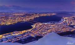 Winter view of Tromsø, Norway (AdelheidS Photography) Tags: adelheidsphotography adelheidspictures adelheidsmitt norge northnorway nordic norway norwegen noruega norvegia norvege bluehour winter cityview citylights tromsø troms bridge cityscape snow