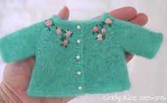 """""""Wishing for Spring"""" made for the Little Darlings. (Cindy Rice Designs) Tags: embroidery cardigan sweater knit effner littledarlings dress doll"""