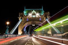 Light Speed (D. R. Hill Photography) Tags: london uk towerbridge city urban architecture bridge night capital traffic traffictrails lighttrails longexposure bus road nikon nikond7100 d7100 sigma sigma1020mm 1020mm