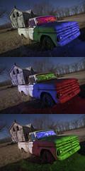 Abandoned Pickup Truck Triad (Notley Hawkins) Tags: rural missouri notley notleyhawkins 10thavenue httpwwwnotleyhawkinscom missouriphotography notleyhawkinsphotography lightpainting bluelight greenlight blue green night nocturne 光绘 光繪 lichtmalerei pinturadeluz ライトペインティング प्रकाशपेंटिंग ציוראור اللوحةالضوء abandoned ruralphotography chartitoncountymissouri red redlight rgb outdoor riverbottoms missouririverbottoms truck farmtruck chevrolet march 2018 dutchangle windshield carwindow trio triad triptych