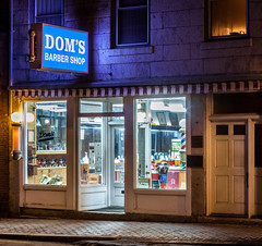 Dom's Barber Shop (Me in ME) Tags: hallowell maine nightshot waterstreet doms barbershop hairsalon